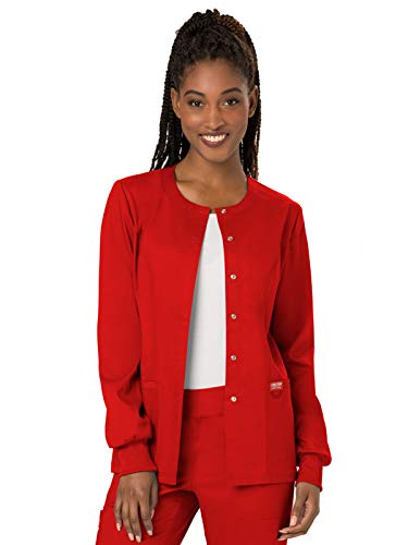 Cherokee Women's Snap Front Warm-up Jacket, Red, Medium ()