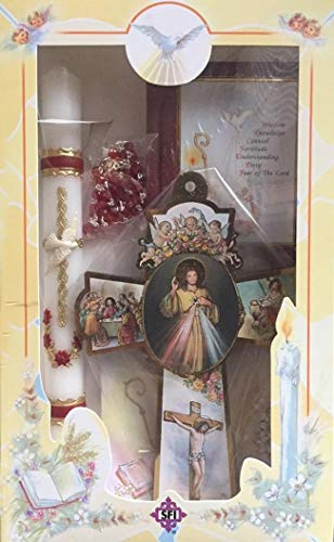 (Boys Girls Confirmation Complete Candle Gift Set Keepsake Missal Spanish Rosary Cross Espanol Vela )