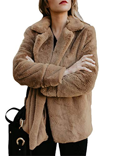 Dokotoo Womens Coats Fleece Winter Fuzzy Casual Open Front Long Sleeve Fluffy Sweater Coat with Pockets Outerwear Brown Small by Dokotoo