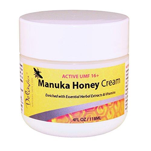 Deluvia miel de Manuka UMF crème 16 + (4oz) enrichi de miel 16 + Active Manuka UMF 100 % & l'aloès biologique plus puissant dans le monde. Effectivement, apaise la peau sèche, irritée ou problème.