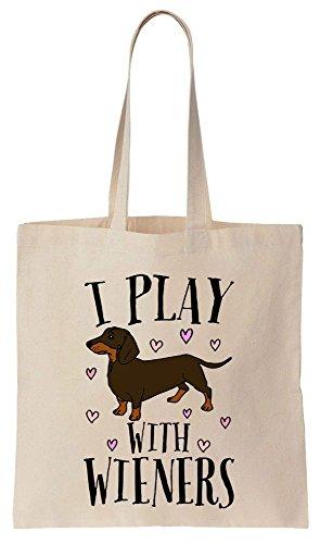 I Play With Wieners Sacchetto di cotone tela di canapa