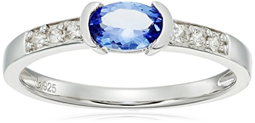 Sterling Silver Tanzanite and Natural White Zircon Ring, Size (Zircon Natural)