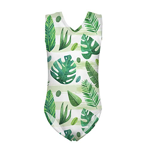 (BIGCARJOB Girls Swimsuit Tropical Leaf Printed Hawaiian Beach Sport Swimwear Kids Splice Suit for 11-12years)