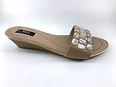 M&Y Woman PU leather Flat Sandals Brown EK8007-1