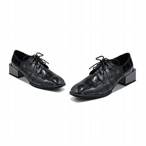 Latasa Mujeres Square-punta Con Cordones Chunky Heels Oxford Zapatos Negro