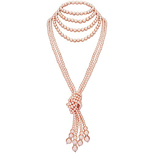 BABEYOND 1920s Imitation Pearls Necklace Gatsby Long Knot Pearl Necklace 49