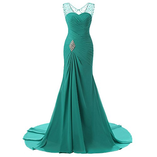 V Mermaid Chiffon Long Diandiai Dresses Sexy Green Beads Neck Evening Prom s Gown Women 86fntz