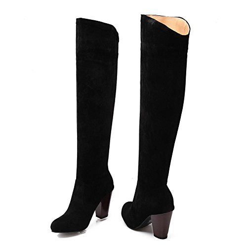 Frosted On Solid Round Heels Women's Closed Toe Boots Pull High Black AmoonyFashion YpwHqTxa