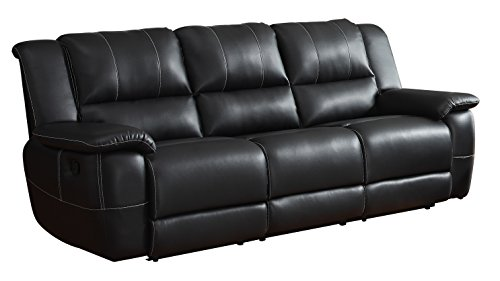 Homelegance Bonded Leather Black Double Reclining Sofa