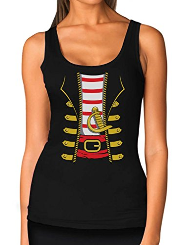 TeeStars - Halloween Pirate Buccaneer Costume Outfit Suit Women Tank Top Medium Black -