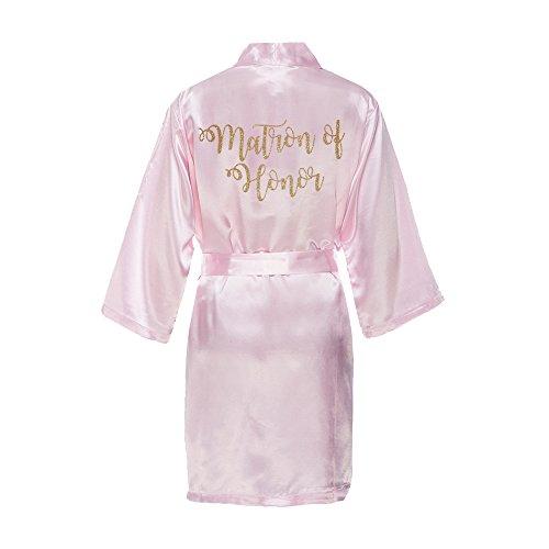 Matron Of Honor Sash - Classy Bride Matron of Honor Satin Kimono Robe with Gold Glitter (S/M (2-8), Blush Pink)