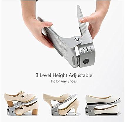 Cozywind 8 St/ück Schuhorganizer Einstellbare Schuhre,Verstellbarer Schuhstapler//Schuhhalter Set Kunststoff grau