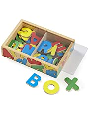 Melissa & Doug 52 Wooden Alphabet Magnets in a Box, Developmental Toys, Sturdy Wooden Construction, 52 Pieces, 19.812 cm H × 13.843 cm W × 4.699 cm L