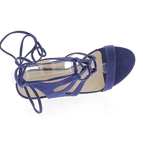 Aspect À Lacets Grande De Daim Sandales Talon Bleues Taille 10cm q18vfUwW7