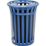 Global Industrial Outdoor Steel Recycling Receptacle with Flat Lid - 36 Gallon Blue