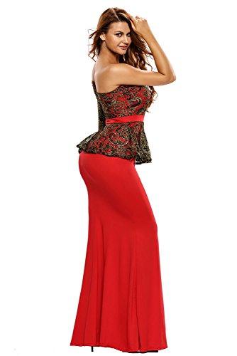 Élégant Mesdames Long Rouge Noir et Or en dentelle une épaule Parti Wardrobe robe Soirée Cocktail Bal Danse Club Wear Taille S 8–10EU 36–38