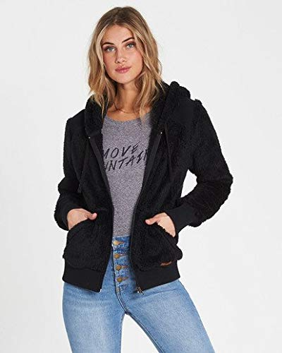 (Billabong Women's Cozy Down Fleece Sweatshirt, Black L)