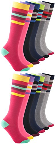 12 Pairs of Womens Knee High Socks, Premium Soft, Colorful Patterned Ladies Chic Styles (Assorted Heel Toe Striped)
