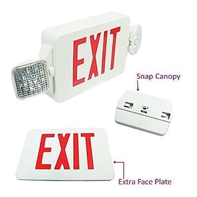 eTopLighting LED Exit Sign Emergency Lighting Emergency LED Light (UL924, ETL listed) / Rotate LED Lamp Head / Red Letter, EL2CR-1, EL2CR-2, EL2CR-6, AGG2261