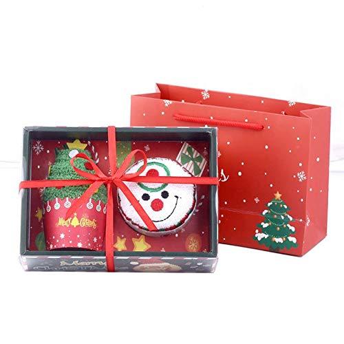 yah! Towel Christmas Tree Santa Claus Christmas Snowman White Green Red Washcloth Dishcloth Xmas Cute Towel Presents -