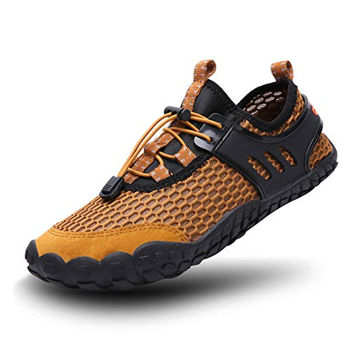 FEIFAN Women Men Water Shoess Hiking Running Shoes Barefoot Quick-Dry Aqua Yoga Shoes Brown -