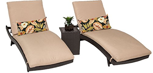 TK Classics BALI-2x-ST Bali Chaise Outdoor Wicker Patio Furniture with Side Table, Set of 2, Wheat Wicker Bali Chaise
