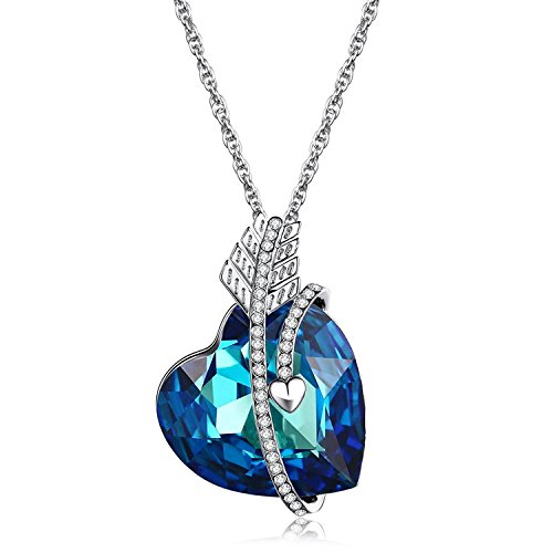 Heart of Ocean and Cupid's Arrow Theme with Blue Crystal Heart Shape Pendant Necklace, Perfect Gift for Wife, Girlfriend, Mom, Daughter, Christmas Valentine's Day (Children's Titanic Costumes)