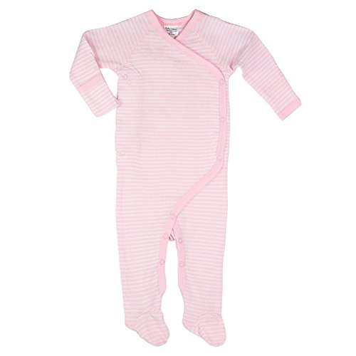 Cashew Kidswear Unisex-Baby Organic Cotton full-Sleeve Footed Overall (9-12 Months, Pink Stripe)