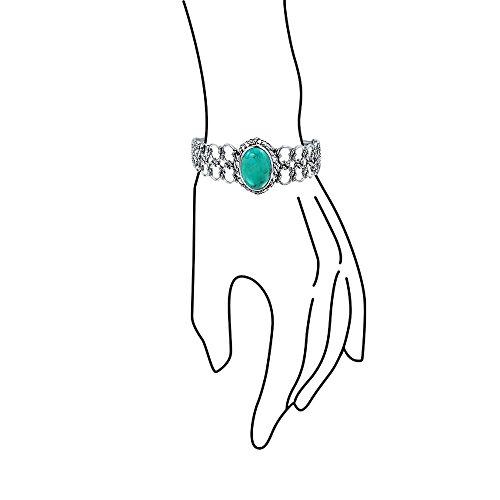 Bling Jewelry Corde nautiques BLEU TURQUOISE Argent 925 Gemstone Bracelet du brassard