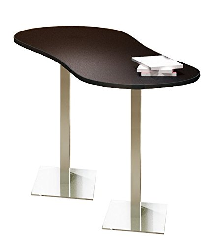 Mayline CA3PHTANT Bistro Series Peanut Bar Height Table with Stainless Steel Base In Anthracite Laminate and Black T-mold/Pac, 72