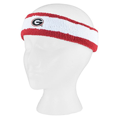 Georgia Bulldogs Official Adult Striped NCAA 92% Cotton 8% Spandex Head Band Headband by Mojo Koolwear