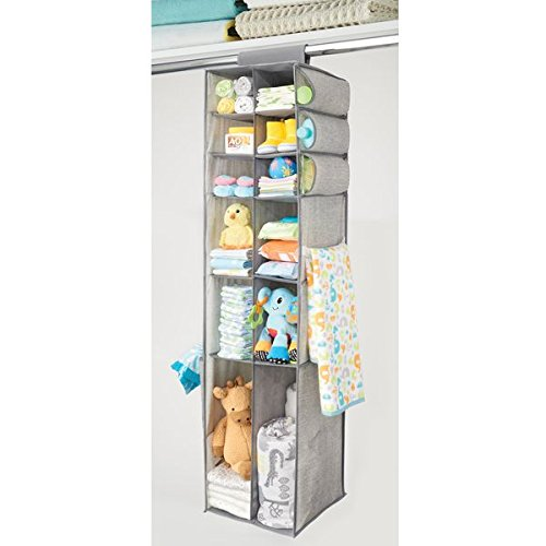mDesign Fabric Hanging Baby Nursery Organizer for Clothing, Blankets, Diapers - 16 Compartments, Gray