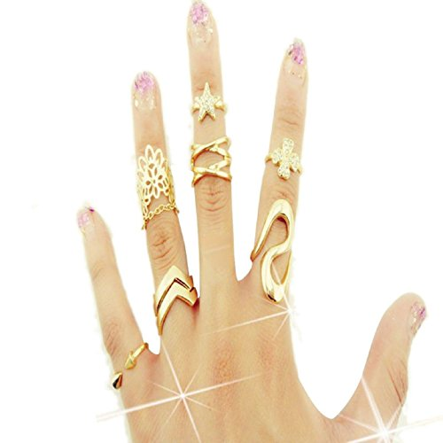 Ularmo Fashion Women Clover Leaf Star Joint Knuckle Nail Ring Set of 7 Rings