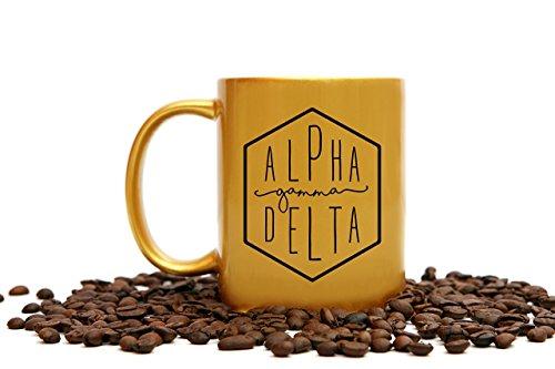 (Alpha Gamma Delta Mug   11 Ounce Gold Sorority Coffee)