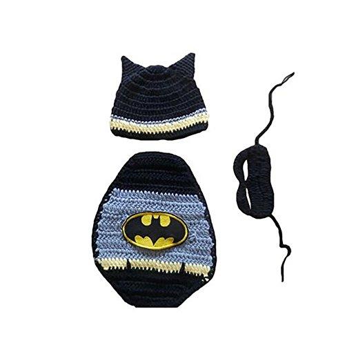 CX-Queen® Baby Boy Crochet Batman Mask&Hat&Cape Set Party Costume Photo Prop (Superhero Outfits)
