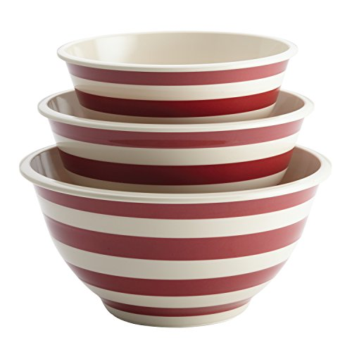 Paula Deen 46630 Pantryware Melamine Mixing Bowl Set, 3-Piece, Striped Red, Large, (Red Bowls)