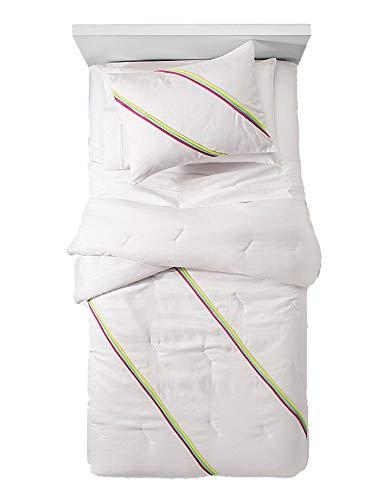 Pillowfort Rainbow Stripes 3 Piece Comforter and Sham Set - Full/Queen, Pink Green, - Comforter Rainbow Stripes