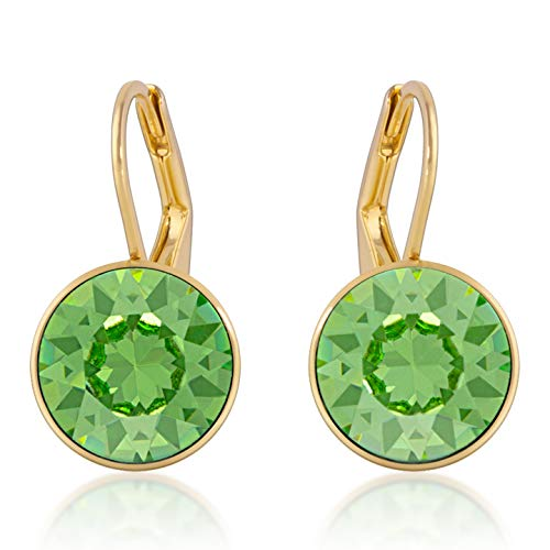 Ring Peridot Crystal Swarovski (Drop Earrings with Green Peridot Round Crystals from Swarovski Gold Plated)