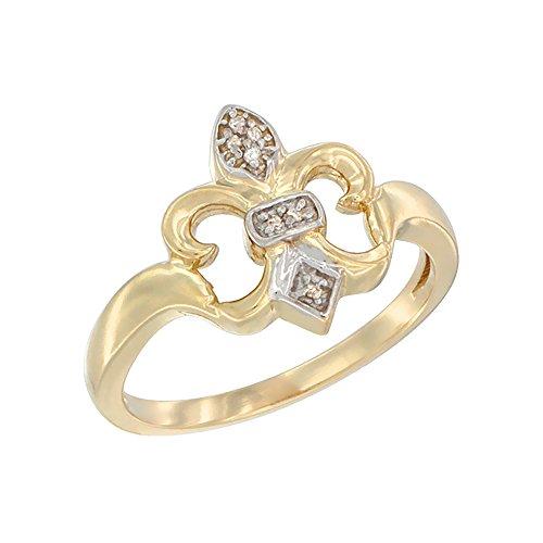 10K Yellow Gold Diamond Fleur De Lis Ring 5/8 inch wide, size 6.5