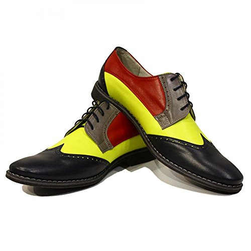 Modello Caramella - Handmade Colorful italiennes Chaussures en cuir Oxfords Casual Souliers de Formal Prime Unique Vintage Gift Lace Up Robe Hommes