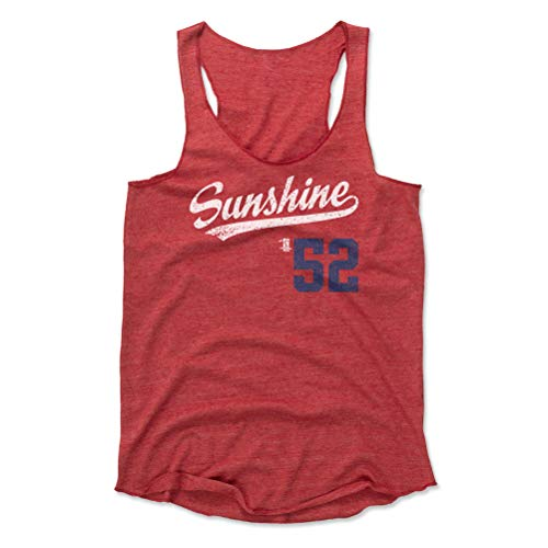 (500 LEVEL Mike Clevinger Women's Tank Top X-Large Red - Cleveland Baseball Women's Apparel - Mike Clevinger Sunshine Players Weekend Script B WHT)