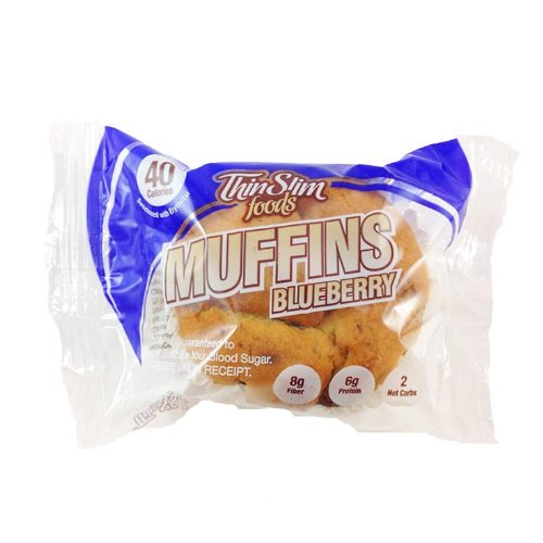 (ThinSlim Foods 40-45 Calorie, 2g Net Carb Muffins 4pack (Blueberry))