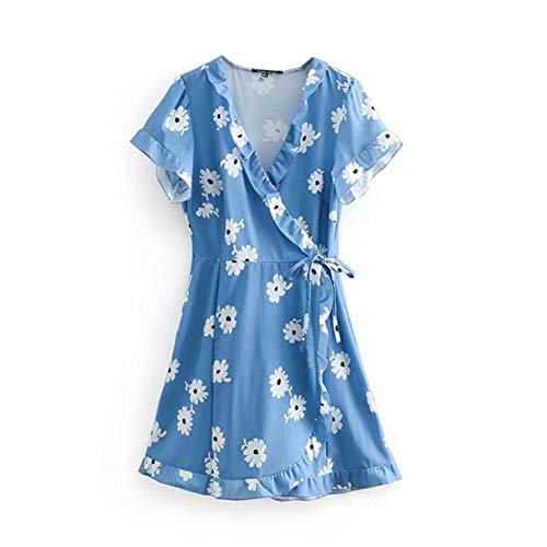 (Women's Summer Fashion Floral Printed Casual Pullover V Neck Short Sleeve Wrap A Line Mini Dress (M, Blue White))