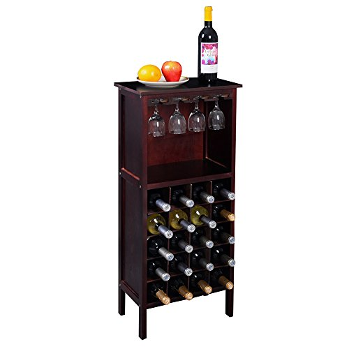 New Wood Wine Cabinet Bottle Holder Storage Kitchen Home Bar w/ Glass (Piedmont Counter)