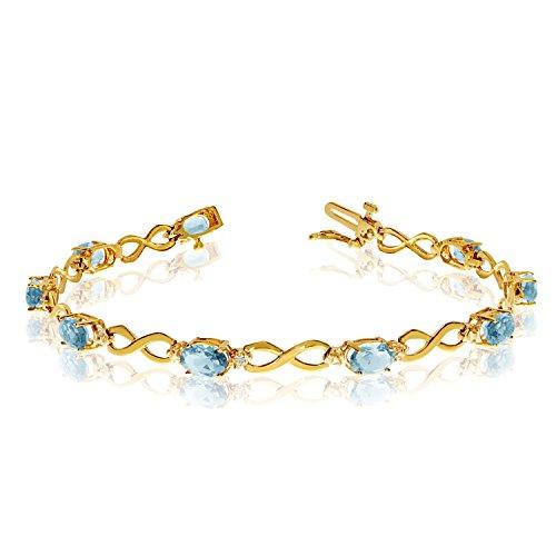 - 10K Yellow Gold Oval Aquamarine and Diamond Bracelet