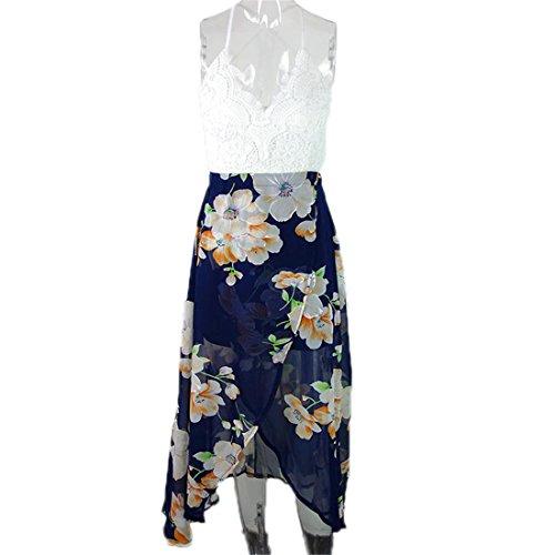 Yanick Mark Casual summer style beach lace backless dress Fashion sleeveless deep v neck women dresses Sexy slit print dress NEW Print - Newport Ri Mall Newport