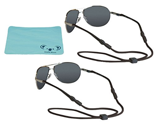 Koala Lifestyle Chums Universal Fit Eyewear Retainer Sunglass Strap | Adjustable Eyeglass & Sports Glasses Holder Keeper Lanyard | 2pk Bundle + Cloth