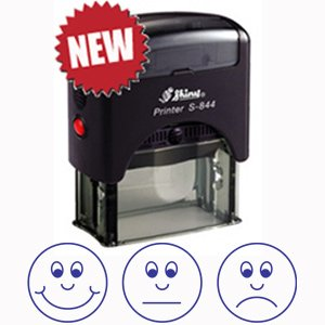3 Faces / Expressions Self-Assessment Self-inking Stamp for Teachers BLUE ink Classroom Capers