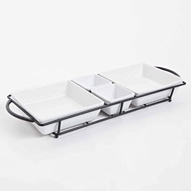 Ceramic Tidbit Serving Tray Divided Dish bowl with Metal Rack, White Plates