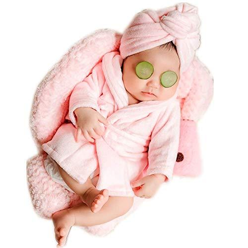 Fashion Cute Newborn Boy Girl Baby Costume Outfits Photography Props Bathrobe Belt Coat Sets (Pink)]()